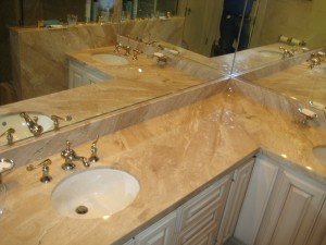 Light Marble Countertop in Bathroom