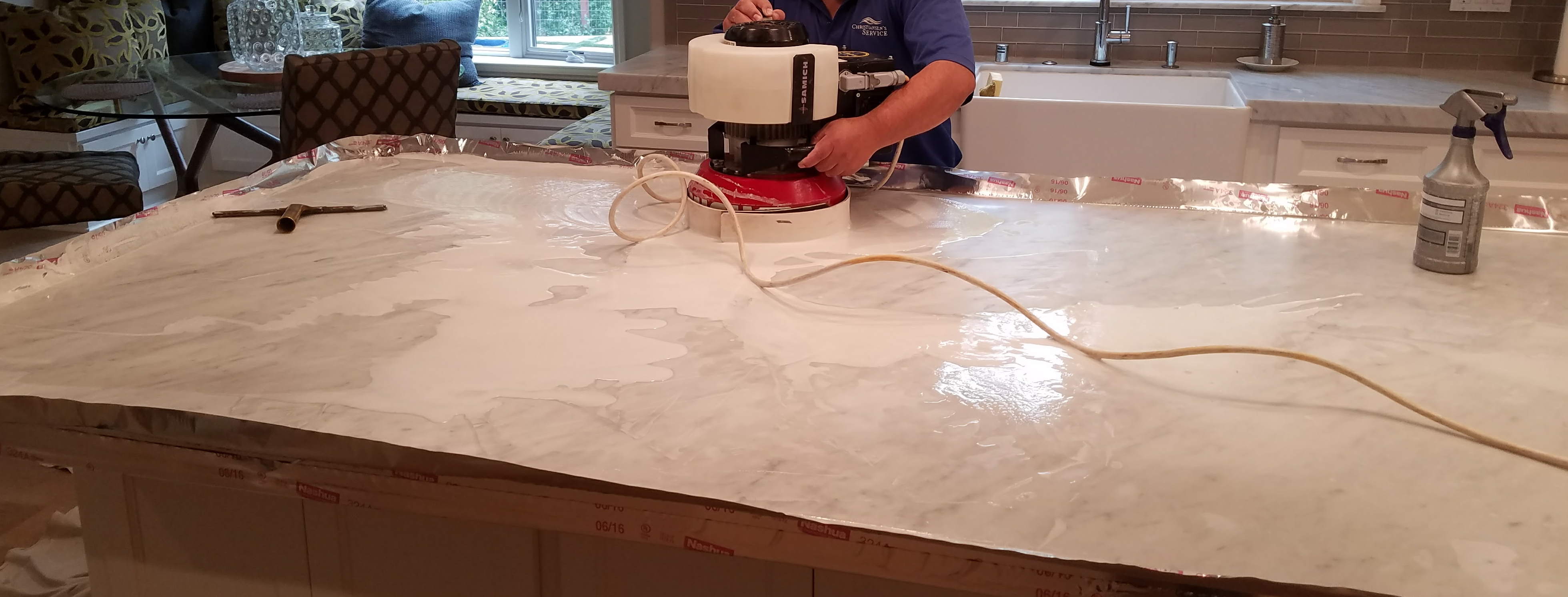Marble counter top making into matte finish