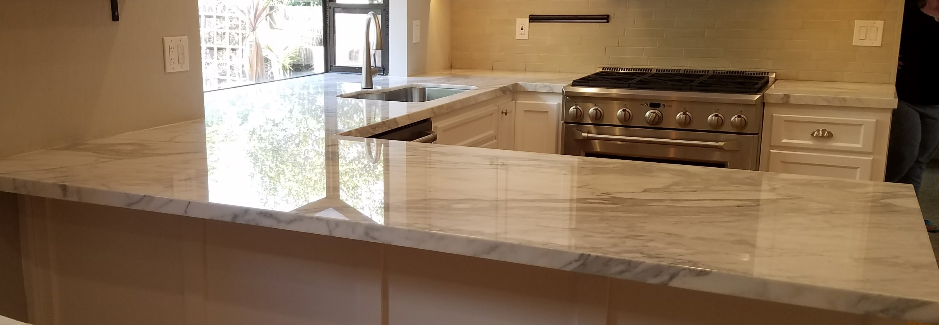 Polished marble kitchen counter top